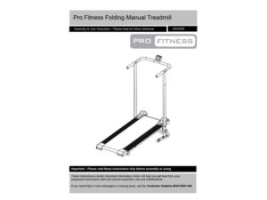 pro fitness hand-operated treadmill customer handbook